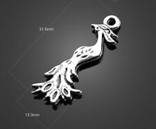 Wholesale 5/10/20pcs Ancient Silver peacock alloy charm pendant 31x13mm