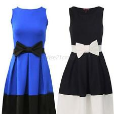 Womens Ladies Bow Sleeveless Skater Flared Pleated Party Cocktail Dress Sundress
