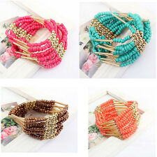 Hot Bohemian Charming Beaded Bangle Bracelet Multilayer Womens Fashion Jewelry