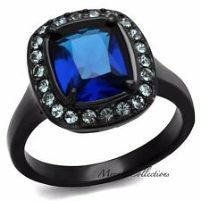 4.25 CT EMERALD CUT SAPPHIRE CZ BLACK STAINLESS STEEL ENGAGEMENT RING SIZE 5-10