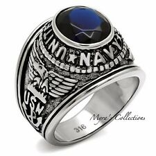Men's Stainless Steel 316 Sapphire Blue CZ US Navy Military Ring Size 8-14