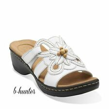 New CLARKS Womens Hayla Ivy Casual Slide Sandals White Leather 26108944
