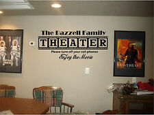 Home theater sign personalized  family name vinyl movie wall art mural decal