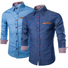 Luxury Men's Long Sleeve Casual Shirts Tops Splice Fitted Business Shirts New