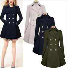 Womens Lapel Wool Cashmere Long Parka Trench Coat Ladies Outwear Winter Jacket