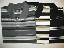 CHAPS MENS STRIPED POLO SHIRTS - SHORT SLEEVE - 100% COTTON - NWT