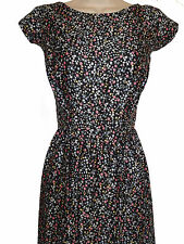 EX EVANS BLACK/PINK/CREAM DITSY PRINT 50s MIDI DRESS - PLUS SIZE 16 - 26/28