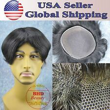"Mens Toupee HairPiece Wig Replacement 6"" Indian Remy Straight Hair Base 9""*7"""