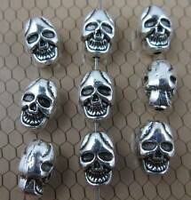 Free shipping 25/100pcs Retro style Double sided skull charms beads 10x7x7mm