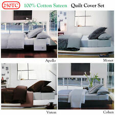 100% Cotton Sateen Soft feel Quilt Cover Set QUEEN OR European Pillowcases