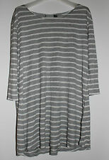 Sportsgirl Grey / White Striped 3/4 Sleeve Tunic Top