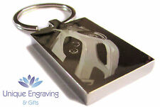 Personalised Car Photo Engraved Rectangle Keyring - Great Fathers Day Gift Idea!