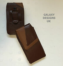 Quality Leather Belt Clip Pouch Holster Brown Case Cover Samsung Galaxy Models