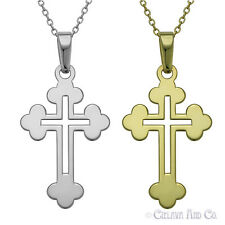 Cross Charm  Pendant  Chain Necklace in Sterling Silver