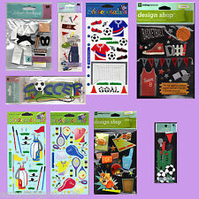SPORT THEME STICKERS ASSORTED DESIGNS - MAKING MEMORIES, JOLEES, STICKO - NEW
