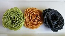 """FIVE (5) 6 1/2"""" FLOWERS, BLACK, BEIGE, GREEN, USE ON HATS, PURSES, CLOTHING"""