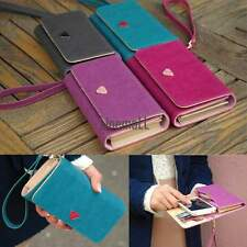 Luxury Envelope Pouch Leather Wallet Case Purse For Samsung Galaxy Iphone LM