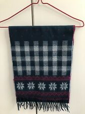 Urban Outfitters Dark Teal Blue Snowflake Wide Soft Scarf £18 Fringed Check Pink