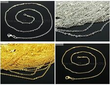 18K Silver / Gold Plated Flat Oval Cable Link Chains Lobster Clasp Necklace 18''