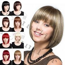 US Ladies Central Skin Parting Line Short BOB Wig Full Wigs Christmas Halloween