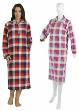 Ladies Micro Fleece Slenderella Check Nightie Long Sleeved Womens Nightdress
