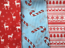 CHRISTMAS FABRIC FQ-XMAS MATERIAL-REINDEER/SNOWFLAKE/CANDY CANES/TREES-RED/WHITE
