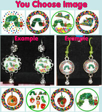 The VERY HUNGRY CATERPILLAR Earrings You Choose Image & Style Rhinestone Food