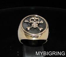 BRONZE BIKER SIGNET RING CROSS BONES PIRATE SKULL BUKANEER JOLLY ROGER ANY SIZE