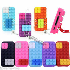 Removable Brick Block Rubber Silicone Skin Soft Back Case Cover For iPhone 4 4S