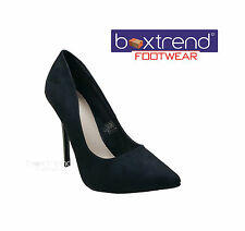 NEW WOMENS LADIES SUEDE STILLETTO HIGH HEELS OFFICE PARTY WEDDING COURT SHOES HI