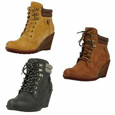 Ladies Spot On! F50324 Casual High Wedge Heel Lace Up Ankle Boots