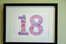 Personalised Birthday Wordart Print Gift Keepsake 1st 18th 21st 30th 40th 50th