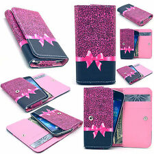 Bowknot Leather Card Wallet Case Cover For Phone Samsung LG HTC Motorola
