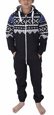 Unisex Kids Girls Boys Aztec Fleece Soft Onesie Jumpsuit Playsuit 2-13 Years NEW