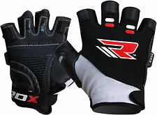 RDX Gel Weight Lifting Body Building Gloves Straps Gym Workout Fitness Leather U