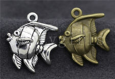6/20/100pcs Tibetan Silver Lovely Deep sea fish Jewelry Charms Pendant 25x22mm