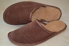 Men's Suede Brown Leather With Wool Slippers Shoes Sandal Handmade In Poland New
