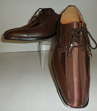 Mens Gorgeous Brown Satin Stripe Silvertip Dress Shoes Expressions 4925
