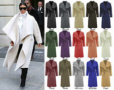 Women Ladies Celb Long Sleeve Wrapped Up Draped Belted Long Coat Cape 8-16