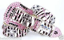 a15. BHW Cowgirl Western Zebra Pink-Silver Cross Concho Leather Belt