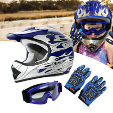 Youth Kids Blue Flame Dirt Bike ATV Motocross Off-Road Helmet MX + Goggles S M L