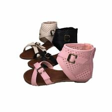 Girls flat open toe sandals with ankle cuff