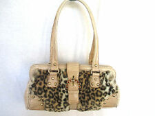 KATHY VAN ZEELAND Handbag Purse Beige Croc Embossed with Faux Fur