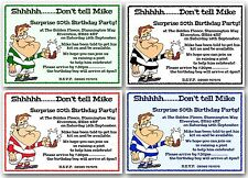 Personalised 18th 21st 30th 40th 50th Surprise Birthday Party invitations Rugby