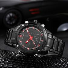 Men's Stainless Steel Military Sport Dial Analog Quartz LED Digital Wrist Watch