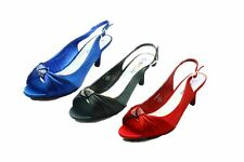 Ladies satin kitten heel sling back shoes with diamante brooch- SECONDS