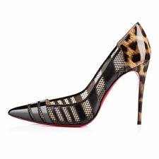 Christian Louboutin BANDY 100 Mesh Stripe Heels Pumps Shoes Black Leopard $875