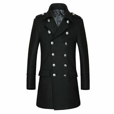 Fashion Men Double Breasted Winter Long Overcoat Trench Coat Warm Jacket Outwear