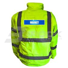 REFLECTIVE HIGH VISIBILITY MARKET BOMBER JACKET HI VIS VIZ SAFETY