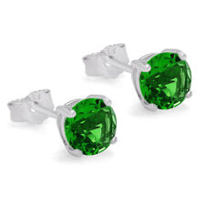 MAY BIRTHSTONE GREEN EMERALD CZ SOLITAIRE STUD EARRINGS 925 STERLING SILVER